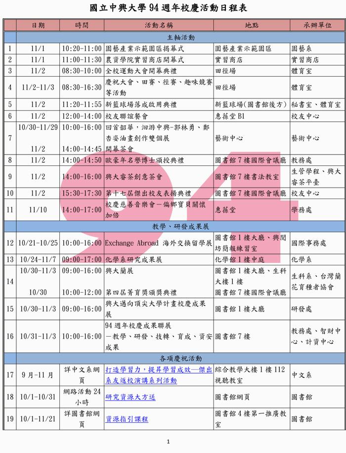 校慶活動日程表