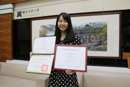 興大獸醫學系周言昱同學是臺灣首位取得臺美名校獸醫臨床碩士雙聯學位的學生。