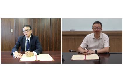 一橋大學法學院酒井太郎院長(左)、中興大學法政學院蔡東杰院長(右) 完成MOU簽署