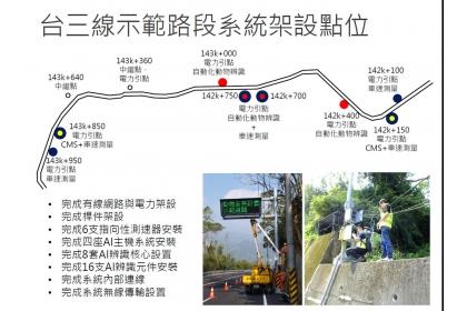 台三線示範路段的系統架設位置。特生中心提供。