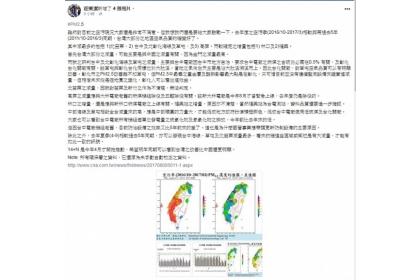 中市PM2.5逐年減量,中興大學教授莊秉潔透過臉書,肯定市府致力改善空氣品質。(圖擷取自莊秉潔臉書)