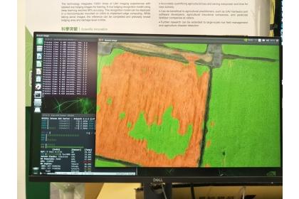 以SegNet深度學習架構訓練的水稻倒伏農損辨識模型,目前辨識率已超過90%,且能在無人機上即時辨識。