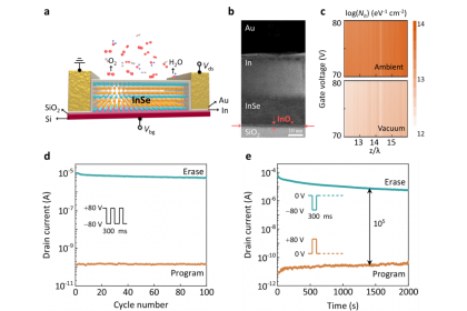 (a)二維層狀硒化銦電晶體的示意圖。 (b)硒化銦電晶體的高分辨率穿透式電子顯微鏡圖像。 (c)在不同條件下的有效界面陷阱密度。 (d)和(e)分別為硒化銦記憶體在大氣及真空環境條件下的電荷儲存性能和耐久特性測試結果。