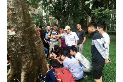 黃振文帶領學生針對樹木根部病害進行實務診斷訓練,培訓未來的植物醫師。(圖片提供/黃振文)