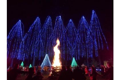 【自由時報 】眾人在「希望之樹」前圍繞熊熊營火,為即將來臨的2018祈福。