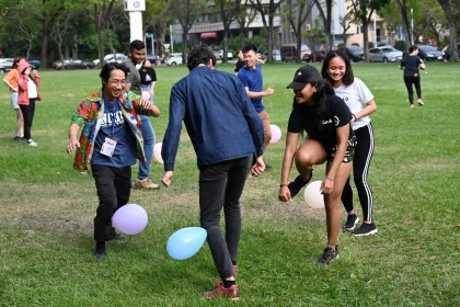 "Foreign Students Facing ""Mexican Standoff"" during the Thrilling Balloon Stepping."