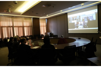 Distinguished Delegates of National Chung Hsing University having a virtual ceremony with Sister School Mizoram University of India.