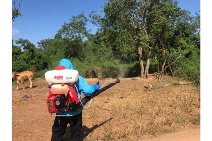 各鄉鎮公所清潔隊協助進行養牛場周邊區域消毒作業。(縣府提供)