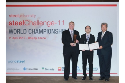 Taiwan's Li Chia-chun, a doctoral candidate at National Chung Hsing University in the central city of Taichung, claimed first place April 11 in the student category of the 2017 steelChallenge-11, a computer-simulated steelmaking competition staged by the