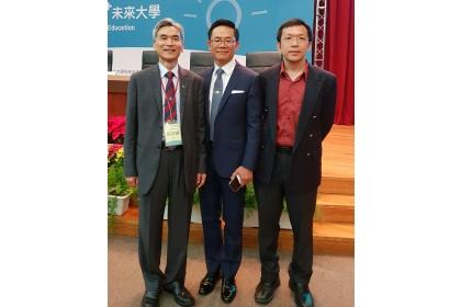 左而右: 中興大學校長薛富盛教授、加州大學洛杉磯分校(UCLA)分子藥理所曾憲榮教授、中興大學化學系李進發教授