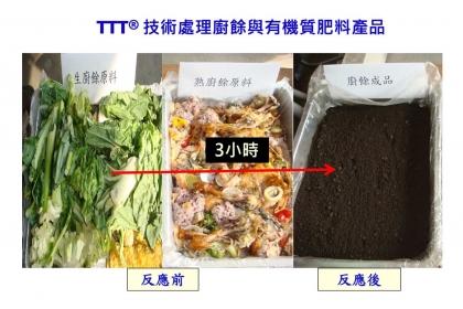 生熟廚餘都有專屬的酵素配方,反應後快速轉化為有機質肥料(楊秋忠提供)