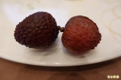 【自由時報】傳統冷凍荔枝外殼容易變黑(左),上銀與中興大學研發的保鮮科技讓外銷到日本的荔枝依舊鮮紅欲滴(右)。(記者林翠儀攝)