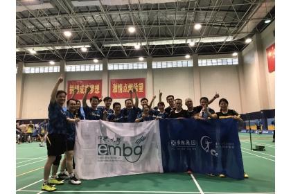 中興EMBA羽球社參加第五屆海棠花開李寧盃全球商學校EMBA羽毛球賽。