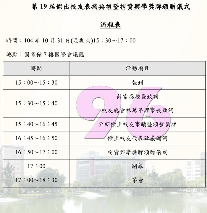 第19屆傑出校友表揚典禮_流程表