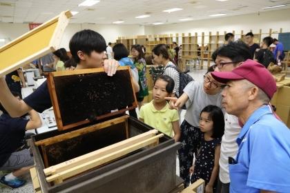 今年興大昆種展主題「你今天 social 了嗎?」以介紹真社會性昆蟲為主軸,現場展示蜜箱,介紹蜜蜂怎麼分工。圖/興大提供