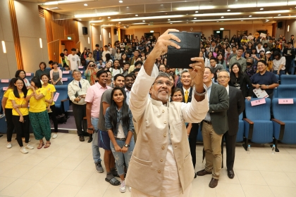 Nobel Peace Prize winner Kailash Satyarthi encourages young people to make use of society to change society