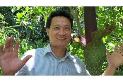 吳佾鴻說這株260公分的密毛魔芋,佛焰苞比他的臉還大。記者吳淑玲/攝影